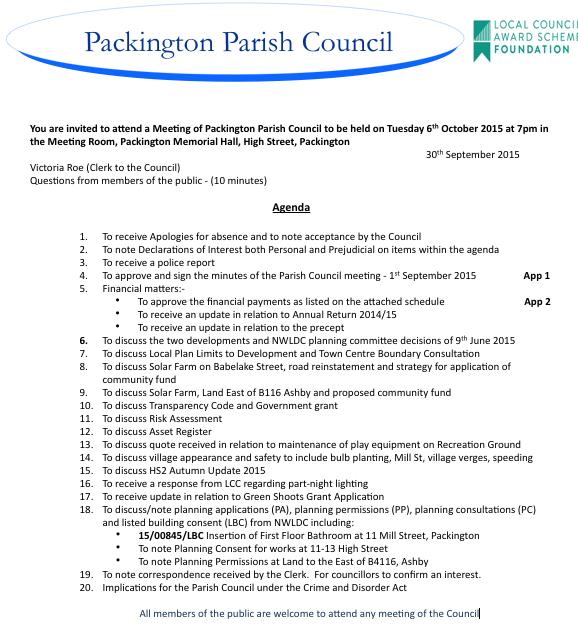 Packington Parish Council Agenda for 6th October