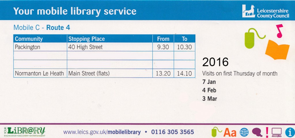 2016 Mobile Library Times-Packington-Nton