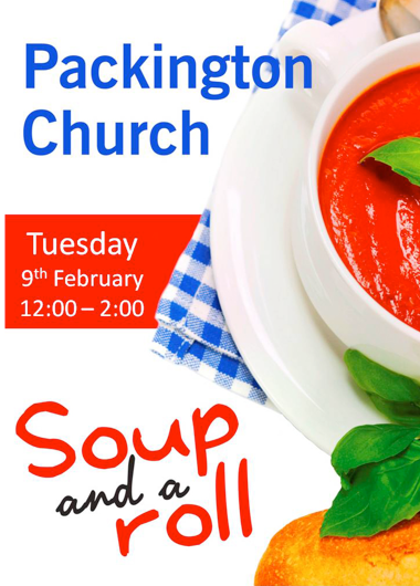 Soup and a Roll at Church Tuesday 9th February 2016 noon - 2pm