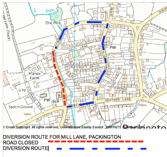 Map of closure and diversion in Packington