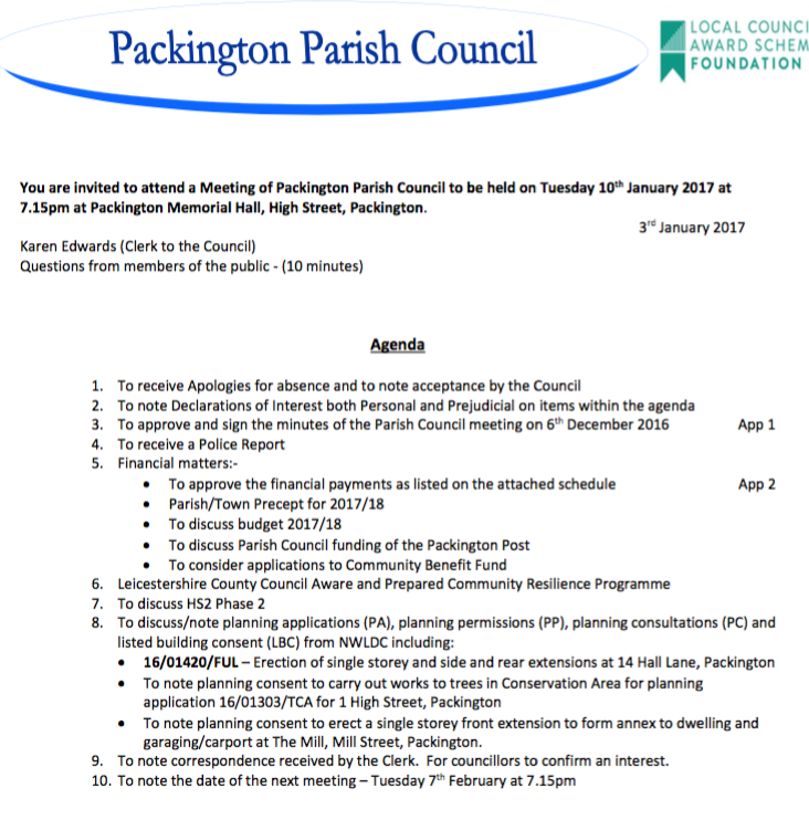 parish Council Agenda for 10th January 2017